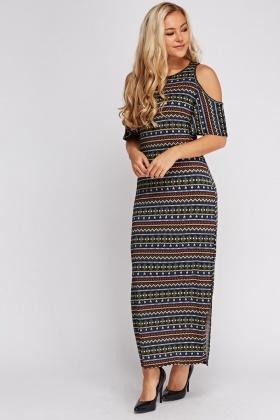 Geo Printed Cut Out Shoulder Maxi Dress