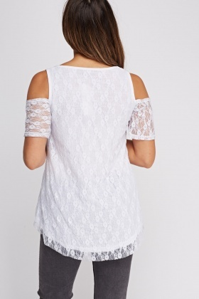 Lace Overlay Cold Shoulder Top