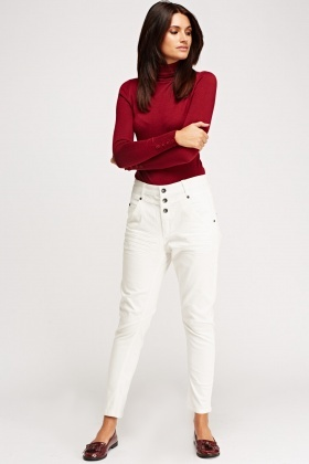 Button Up High Waist Casual Trousers