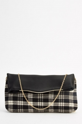 Checked Contrast Clutch Bag