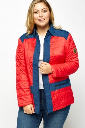 Insert Denim Contrast Quilted Puffer Jacket
