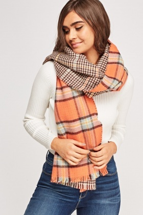 Checked Orange Scarf