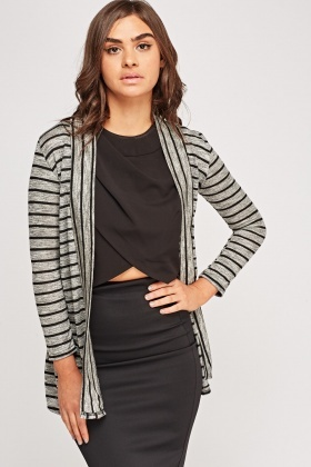 Lace Contrast Striped Cardigan