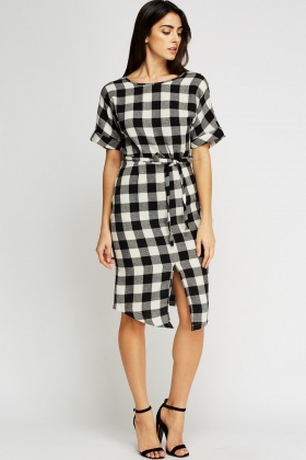 Checked Tie Up Dress