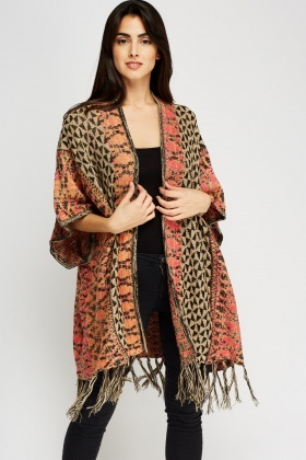 Speckle Geo Printed Knitted Poncho