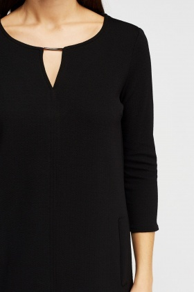 Textured Detail Neck Dress
