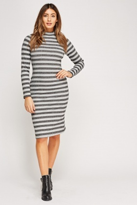 High Neck Striped Printed Ribbed Midi Dress