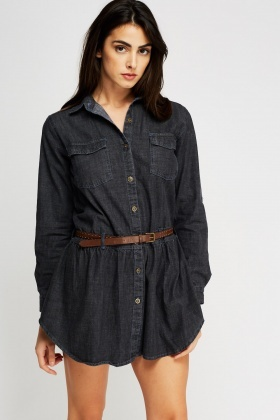 Belted Denim Mini Dress