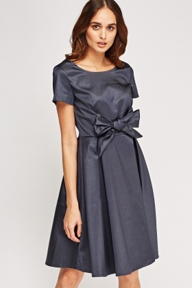 Bow Front Metallic Dress