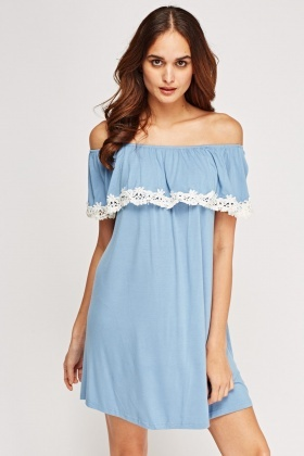 Crochet Flare Top Off Shoulder Dress
