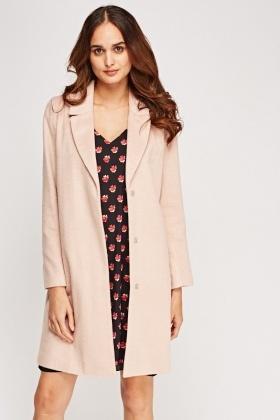 Dusty Pink Long Line Coat - Just £5