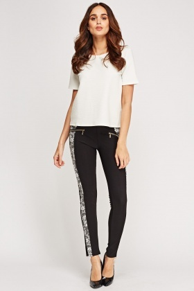 Insert Contrast Side Treggings
