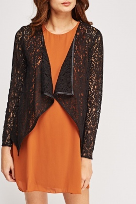 Lace Open Front Cardigan - Black - Just £5