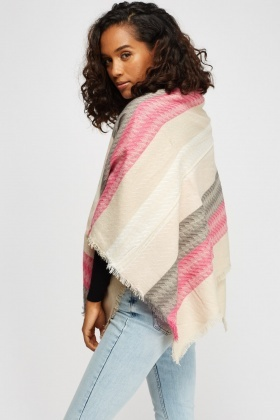 Multi Colour Woven Fringed Scarf