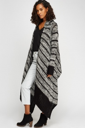Speckled Knit Asymmetric Hem Cardigan