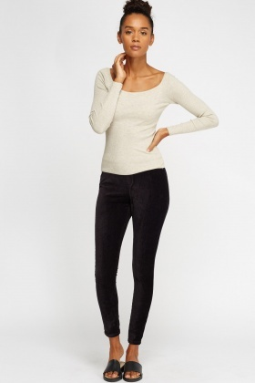 Stretch Petite Velveteen Leggings