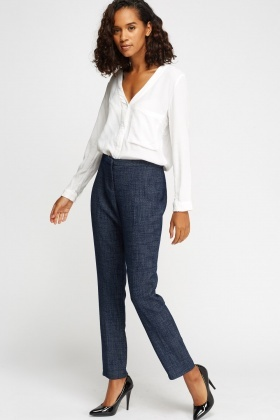 Woven Dark Blue Cigarette Trousers