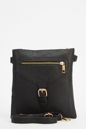 Buckle Detailed Faux Leather Crossbody Bag