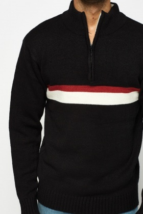 Colour Block Knitted Zip Neck Jumper