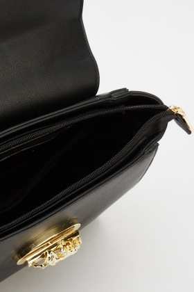 Detailed Front Faux Leather Bag