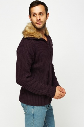 Faux Fur Collar Knitted Cardigan