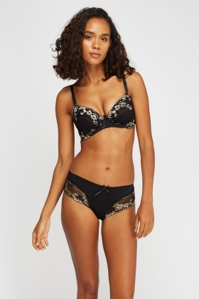 Floral Metallic Lace Bra And Brief Set