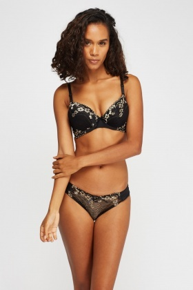 Metallic Insert lace Overlay Bra And Brief Set