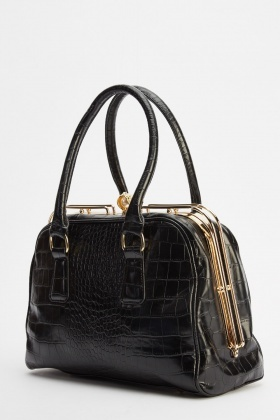 Mock Croc Faux Leather Handbag