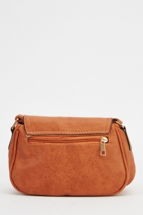 Small Brown Faux Leather Shoulder Bag