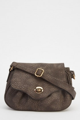 Small Coffee Faux Leather Shoulder Bag