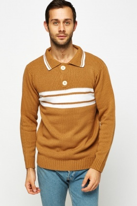 Striped Button Neck Jumper