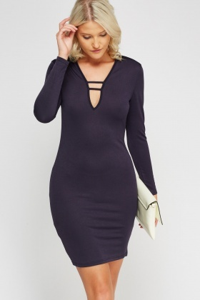 Detailed Neck Bodycon Dress