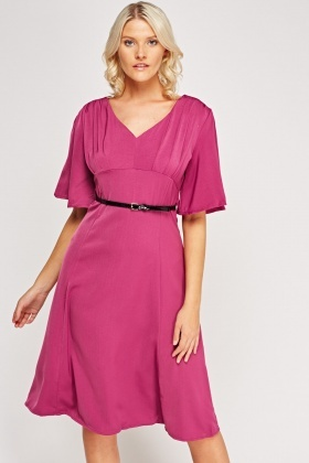 Flared Sleeve Belted Dress