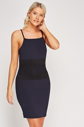 Lace Insert Bodycon Cami Dress