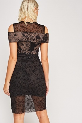 Spider Web Insert Mesh Midi Dress