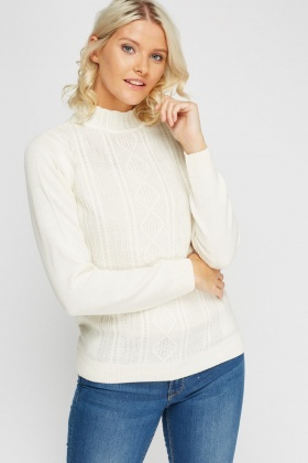 Cable Knit High Neck Jumper