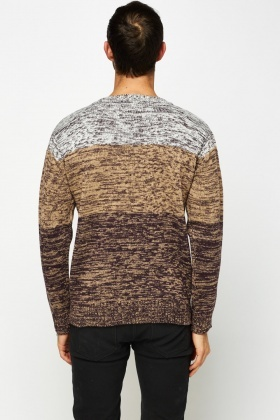 Colour Block Speckled Knitted Jumper