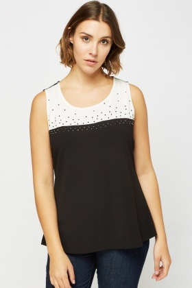 Embellished Contrast Sleeveless Top