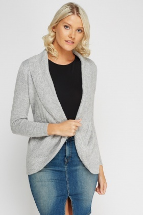 Ribbed Trim Open Front Cardigan
