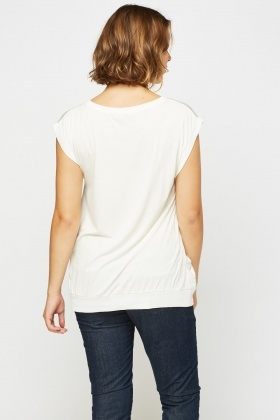 Sateen Printed Front Casual Top