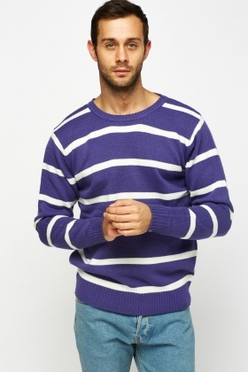 Striped Ribbed Trim Jumper