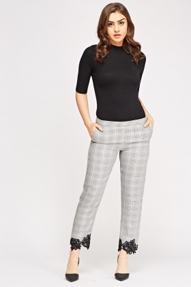 Mesh Hem Checked Trousers