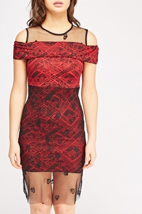 Mesh Overlay Geo Printed Dress