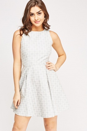 Textured Printed Skater Dress