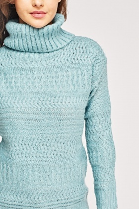 Turtle Neck Mixed Knit Jumper