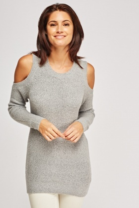 Cold Shoulder Knitted Jumper