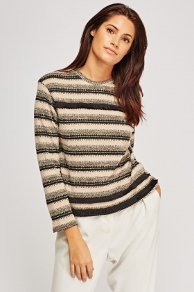 Metallic Insert Striped Knitted Sweater