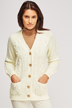 Wooden Button Up Mix Knitted Cardigan