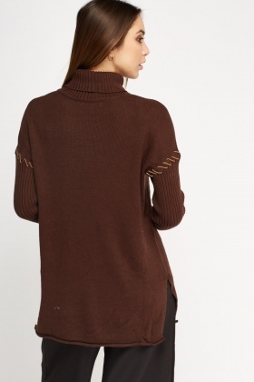 Contrast Stitched Sleeve Jumper
