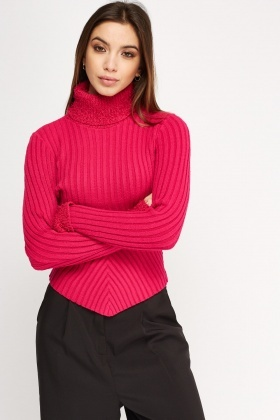 Eyelash Trim Knitted Jumper